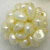 Freshwater Pearls ~ 14mm Beaded Pearl Balls WHITE x 6 pc