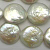 Freshwater Pearls ~ Flat Coin 16mm WHITE x 24