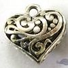 Alloy Metal Charms ~ 20mm Filigree Heart x 10 pcs