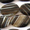 BLACK BANDED AGATE ~ 25mm Curved Ovals x 15