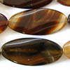 BLACK BROWN AGATE ~ 45mm Long Ovals x 9