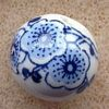 Ceramic Beads ~ 12mm Round Navy Flowers x 10 pcs