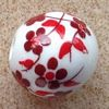 Ceramic Beads ~ 12mm Round Red Flowers x 10 pcs