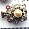 Box Clasp 2-row ~ 20mm Nickle Round w Crystal and Pearl x 1 pc