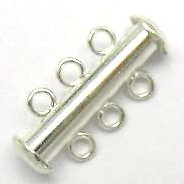 3-row Slide Clasps ~ 20mm Silver Plated x 5 pc