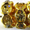 Rhinestone Rondells ~ 10mm Gold / Clear x 10 pcs