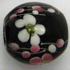 Lampwork Beads ~ 20mm Round BLACK Flowers x 1