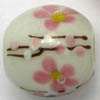 Lampwork Beads ~ 20mm Round WHITE Flowers x 1