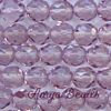 Fire-polished Faceted Round ~ 8mm LIGHT AMETHYST x 75