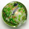 Lampwork Beads ~ 20mm Lentil GREEN DOTS x 6