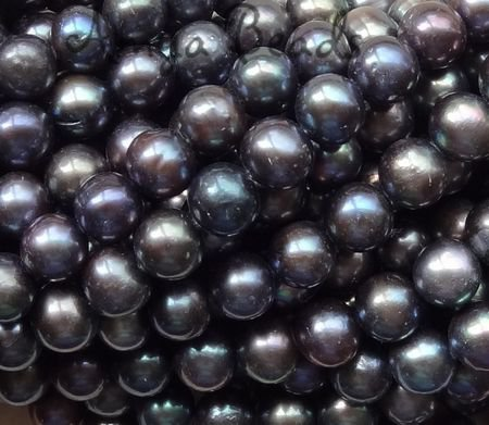 Freshwater Pearls ~ Round 10-11mm BLACK IRIS x 40