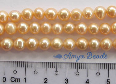 Freshwater Pearls ~ Round 6-7mm PEACH x 67