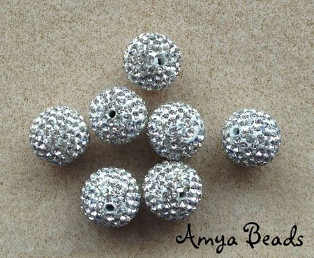 Rhinestone Bling Beads ~ 12mm Round Crystal x 4 pcs