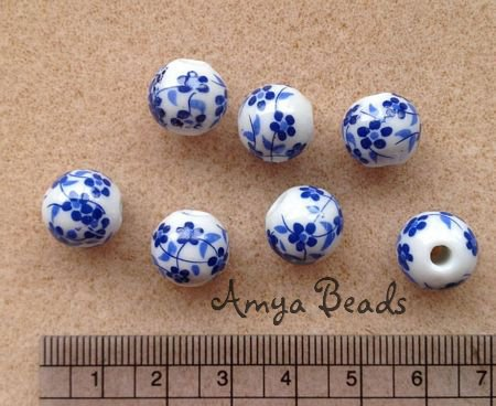 Ceramic Beads ~ 12mm Round Blue Flowers x 10 pcs