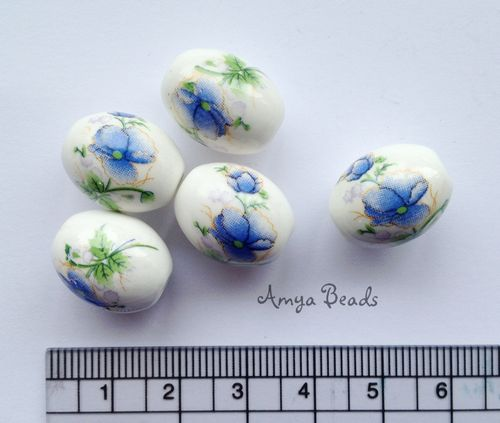 Ceramic Beads ~ 18mm Oval Blue Flowers x 10 pcs