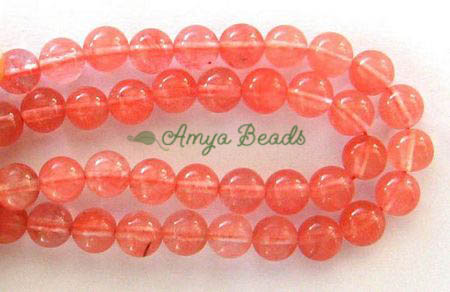 CHERRY QUARTZ ~ 8mm Smooth Round Beads x 50