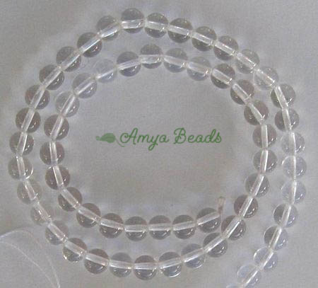 *BULK* CLEAR QUARTZ ~ 6mm Smooth Round Beads x 5 strands