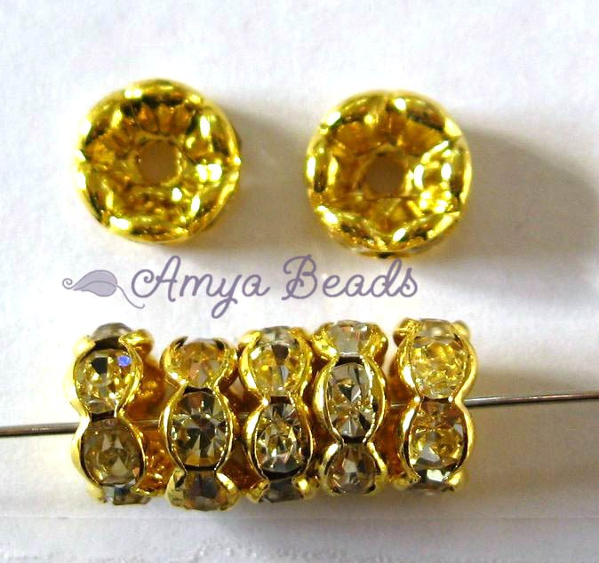 Rhinestone Rondells ~ 5mm Gold / Clear x 50 pcs