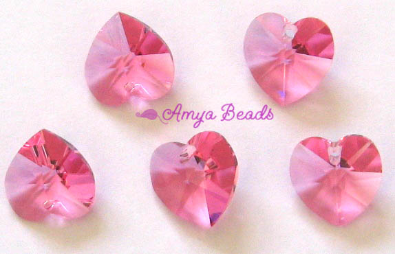 *BULK* Swarovski Heart 6202 ~ 10mm ROSE x 20 pcs