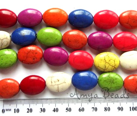 HOWLITE MIX ~ Puffy Oval 20mm Beads x 20