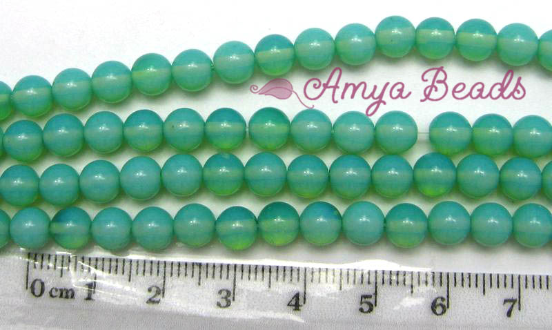Opalite ~ Smooth Round 4mm AQUA GREEN x 7 strands