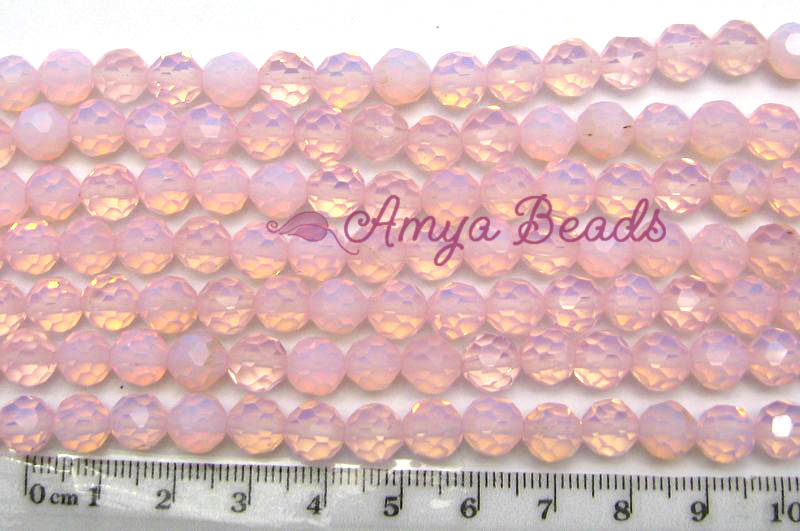 Opalite ~ Faceted Round 6mm PINK x 5 strands