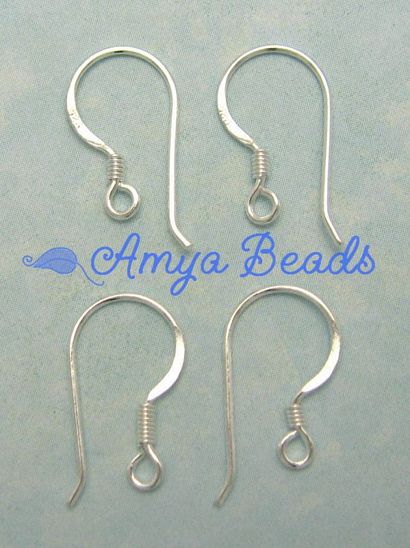 Sterling Silver Earring Hooks 18mm x 20 pairs
