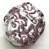 Czech Foil Lampwork ~LAVA~ 20mm Flat Oval PURPLE x 1