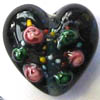Czech Lampwork ~HEART~ 18mm BLACK x 1