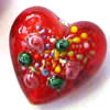 Czech Lampwork ~HEART~ 18mm RED x 1