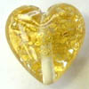 Czech Lampwork ~HEART 2~ 18mm GOLD x 1