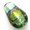 Czech Foil Lampwork ~SWIRL~ 16mm Teardrop GOLD x 1