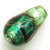 Czech Foil Lampwork ~SWIRL~ 16mm Teardrop GREEN x 1