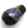 Czech Foil Lampwork ~LEAF~ 16mm Teardrop BLUE x 1