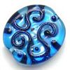 Czech Lampwork ~VINES~ 25mm Flat Oval BLUE x 1