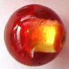 Czech Foil Lampwork ~DUST~ 12mm Round RED/GOLD x 1