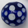 Lampwork Beads ~ 20mm Round BLUE Dots x 1