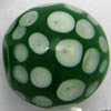Lampwork Beads ~ 20mm Round GREEN Dots x 1