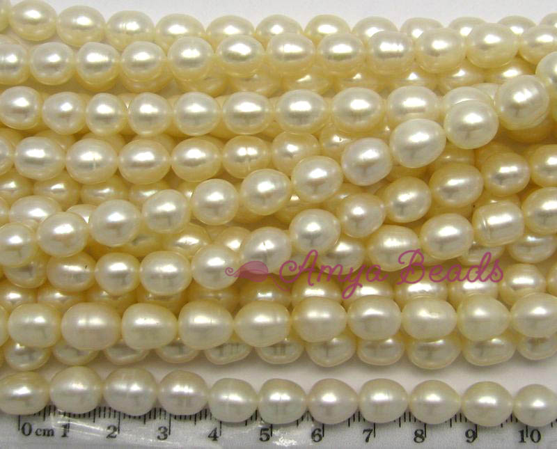 Freshwater Pearls ~ Oval 8-9mm WHITE x 45